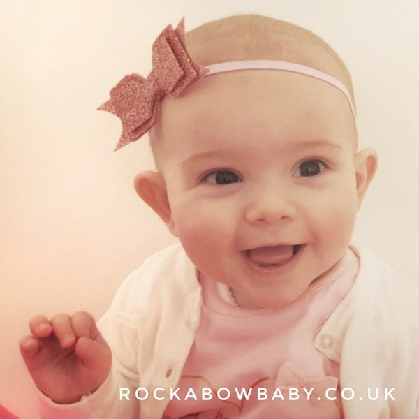 Small Glitter Bow Headbands - Various Colours