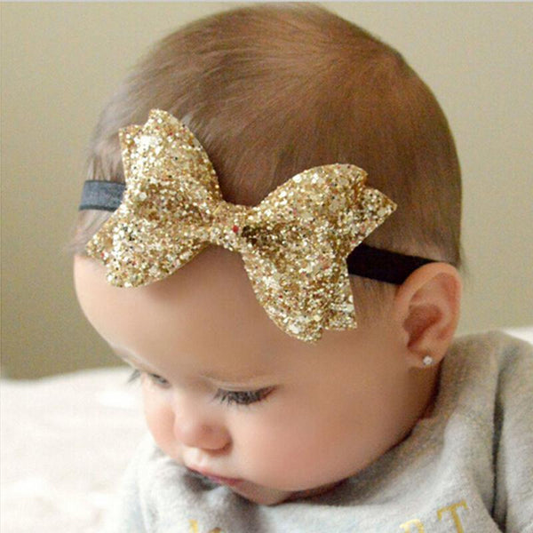Large Glitter Bow Headbands - Various Colours