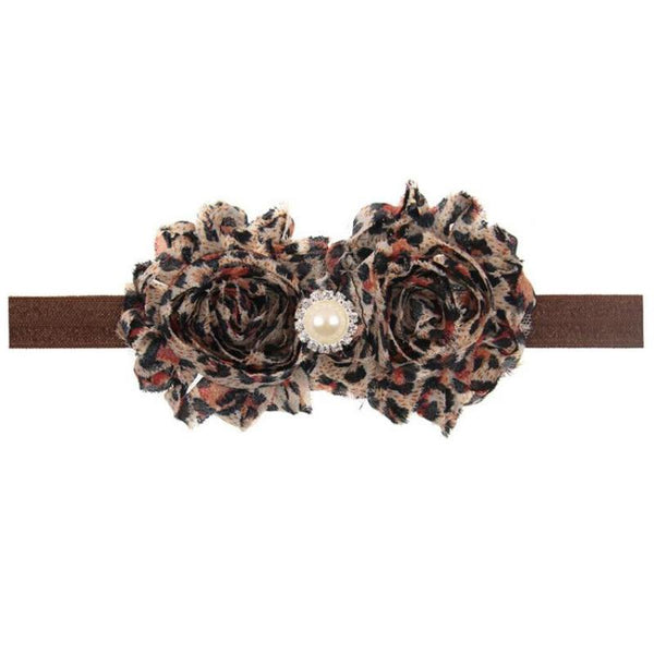 Leopard Print Flower Headband with Pearl Detail