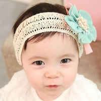 Soft Lace Headband with Mint Green Flower