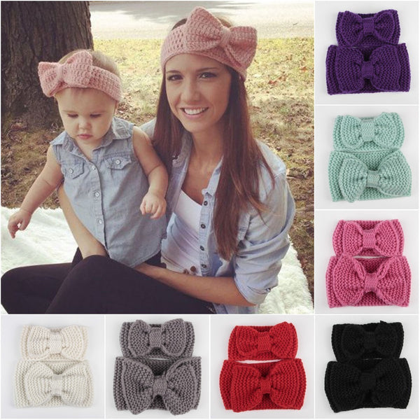 Mummy Me Matching Crochet Bow Headband Sets Various Colours