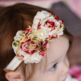 Raspberry & White Flower Headband with Pearl Detail