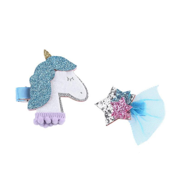 Unicorn & Star Two Piece Clip Set - Various Colours