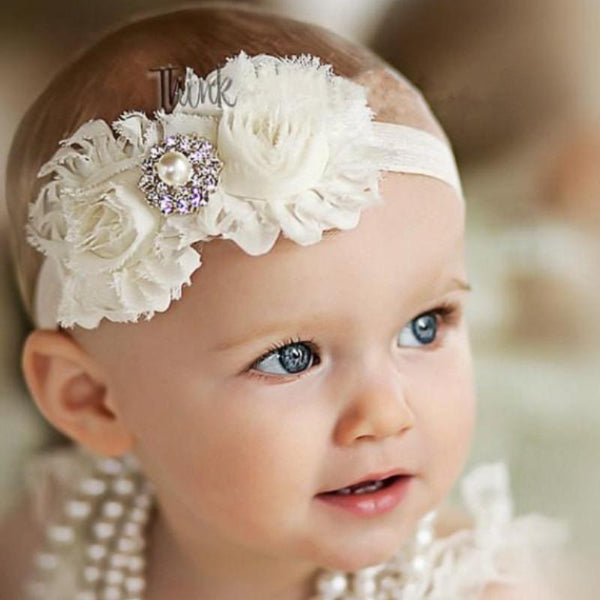 Vintage Lace Flower Headbands with Pearl Detail - Various Colours