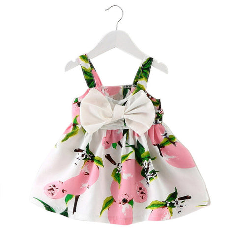 Baby Girl Clothes Lemon Printed Infant Outfit Sleeveless Princess Gallus Dress kids dresses for girls
