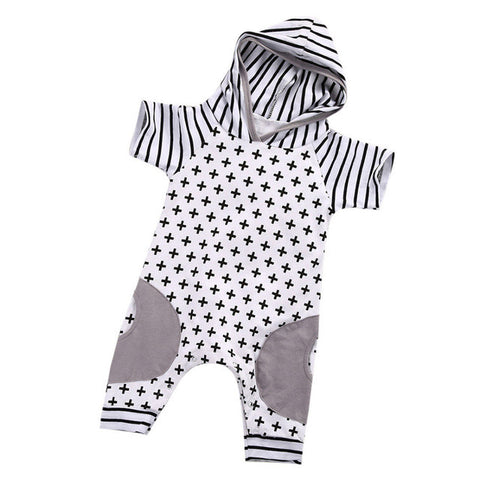 2017 Newborn Baby Girls Boy Clothing Hooded Romper Cross Short Sleeve Jumpsuit Cute Outfits Baby Boys Clothes