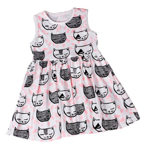 New Summer Style Baby Girl Clothing Dresses Cartoon Cat Girl Kids Princess Dress 2017 Toddler Girl Party Wedding Clothes Dress