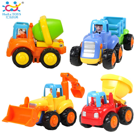 (Set of 4) Classic City Building Construction Series of Children's Toys Mini Car Smiley Baby Truck Back Car Inertial Car Gifts