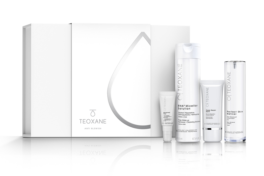 Image: TEOXANE Anti Blemish Skincare Collection image with box and products shown
