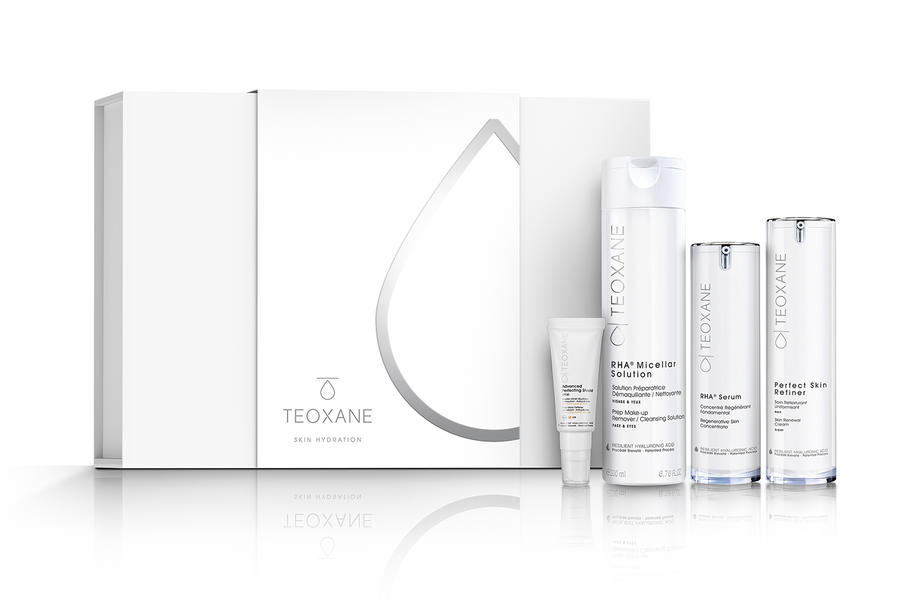 Image: TEOXANE Skin Hydration Skincare Collection image with box and products shown
