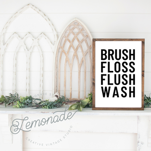 Brush Floss | Wooden Sign
