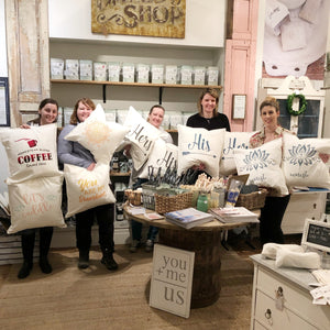 Stencilled Pillows | Oct 23 - The Lemonade Stand