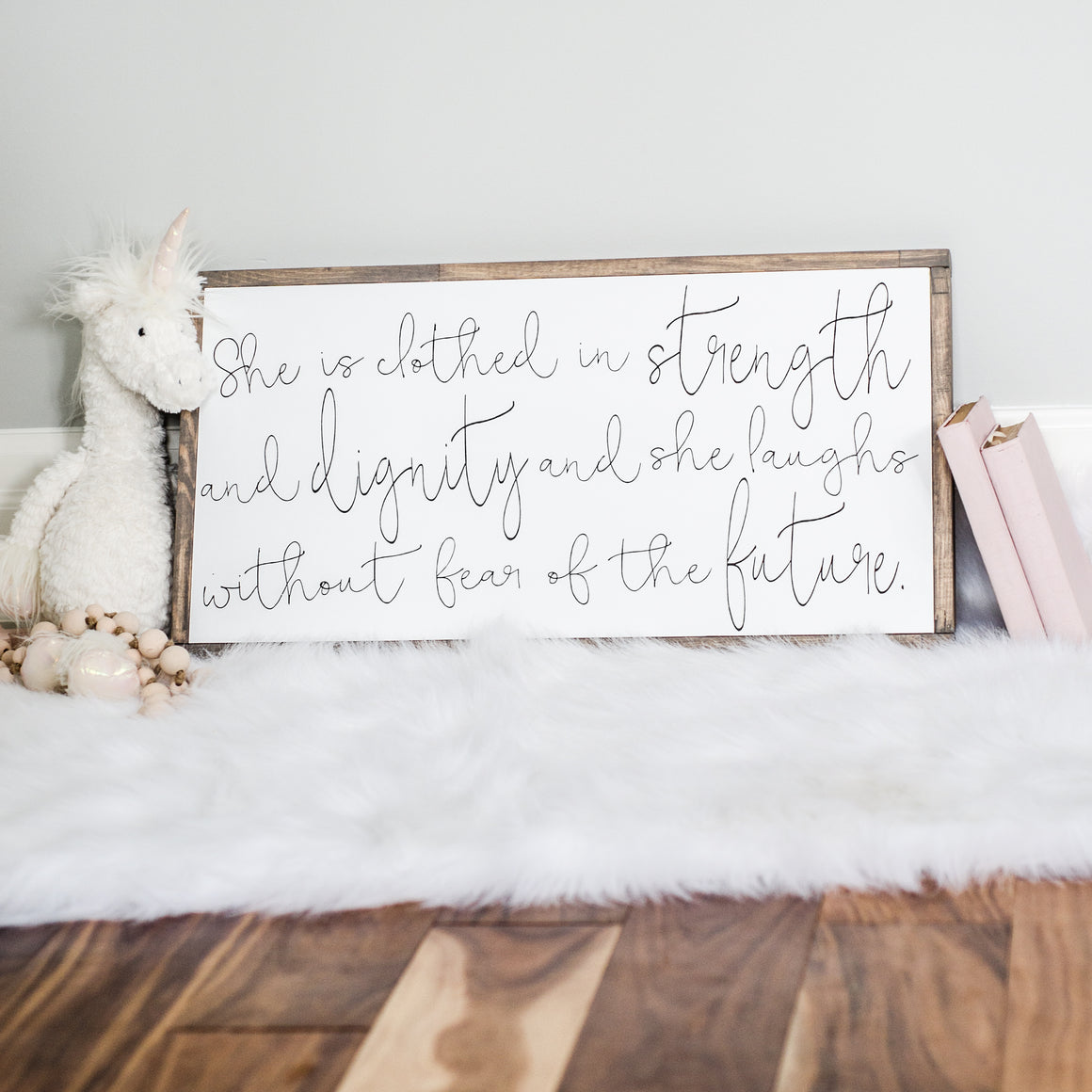 She Is Clothed In Strength | Wooden Sign