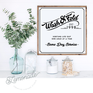 Wash & Fold | Wooden Sign