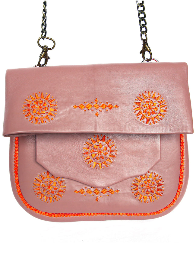 SAC EN CUIR LIE DE VIN & BRODERIES ORANGE