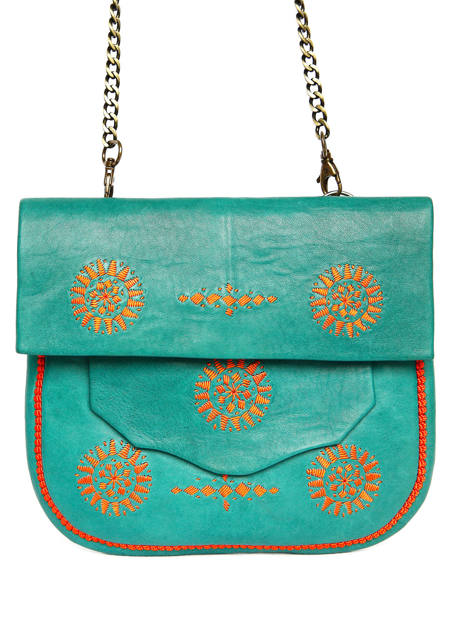 SAC EN CUIR VERT & BRODERIES ORANGE
