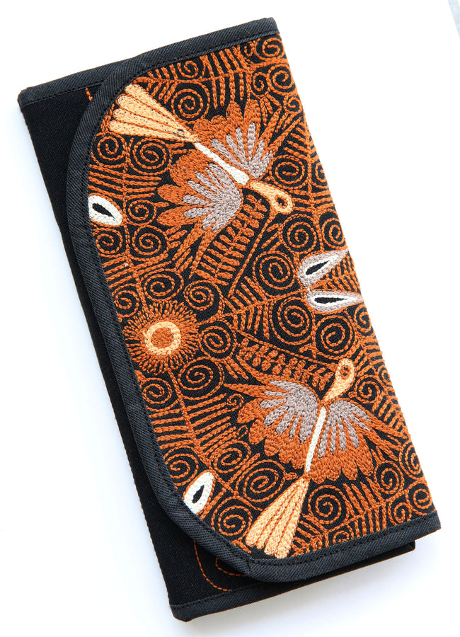 PEROU - PORTEFEUILLE XL NOIR AUX BRODERIES ORANGE