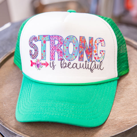 Strong is Beautiful Trucker Hat - green brim
