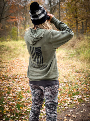 Military Green Hoodie w/black print