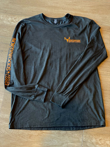 Charcoal w/orange print Long Sleeve T-Shirt