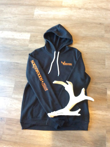 Charcoal Hoodie w/blaze orange print