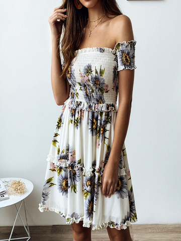 Off the Shoulder Frill Floral Dress