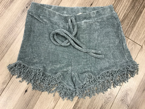 Sage Courduroy Fringed Shorts