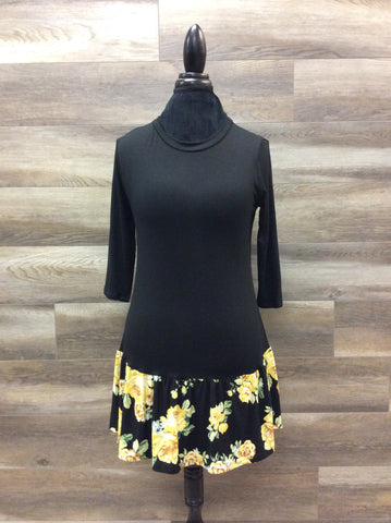 Black Top with Yellow Floral
