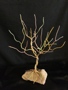 "7"" Wire Oak Tree Sculpture Stone Base, Copper & Aluminum Wire Tree of Life Sculpture Art chained and twisted"