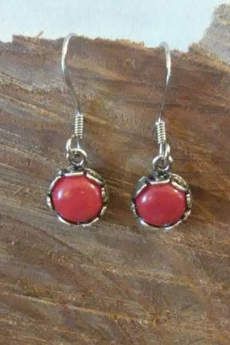 Red bamboo coral drop dangle earrings chained and twisted by kathleen