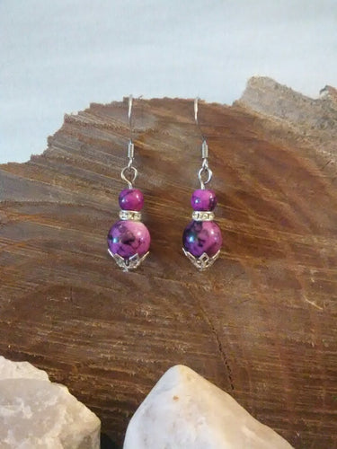 Purple Glass and crystal earrings chained and twisted