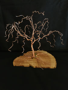"7"" Wire Willow Tree Sculpture, Copper Wire Tree of Life Sculpture Art chained and twisted"