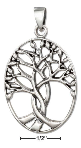 Sterling Silver Oval Tree Of Life Pendant