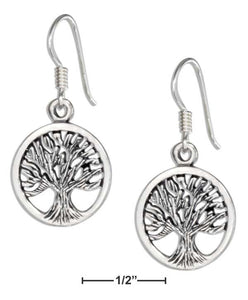 Sterling Silver Round Tree Of Life Earrings on French Wires