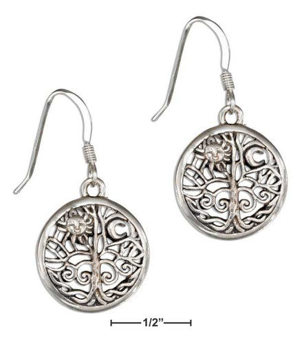 Sterling Silver Tree Of Life Earrings with Sun and Moon