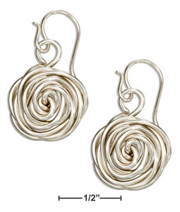 Sterling Silver Wrapped Wire Rose Flower Dangle Drop Earrings