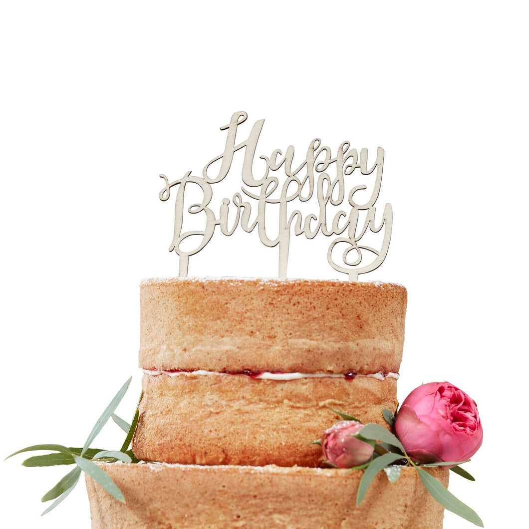 Cake Topper aus Holz Happy Birthday