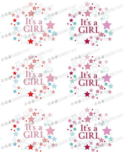 Sugar Stamp Pink Star - It's a Girl