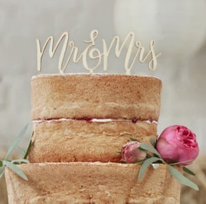 Cake Topper aus Holz Mr & Mrs