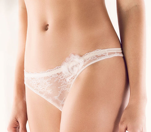 ELLIPSE Celestial Stretch Lace Floral Open Back Brazilian Panty