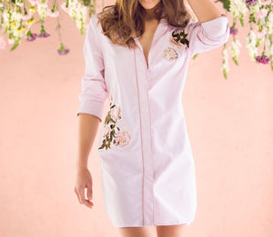 Botanical Pink Striped Nightshirt