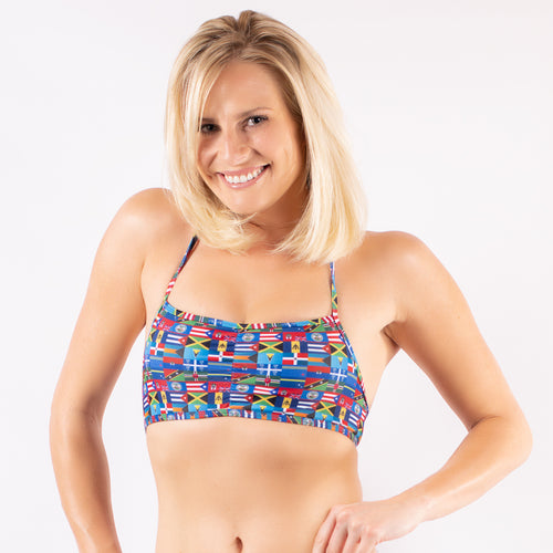 CS Flags - Bandeau Top with Tie Neck
