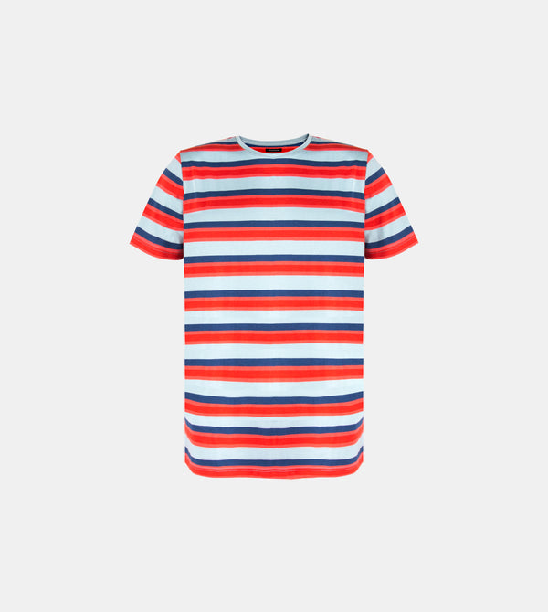 Mega Stripes Horizontal Crew Neck Shirt (Aqua Blue)
