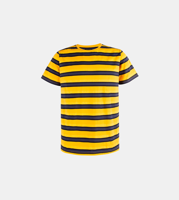 Mega Stripes Horizontal Crew Neck Shirt (Mustard)
