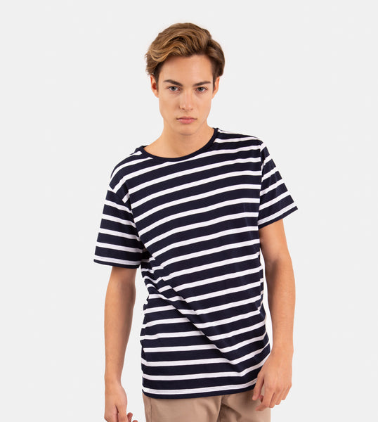 Essential Blend Striped Tee (Navy Blue)