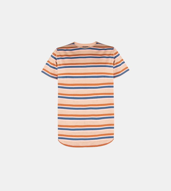 Mega Stripes Horizontal Crew Neck Shirt (Taupe)