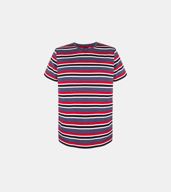 Mega Stripes Horizontal Crew Neck Shirt (Navy Blue)