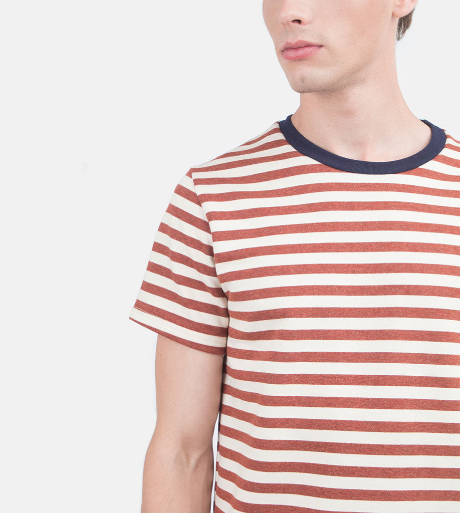 Everyday Striped Tee (Rust)