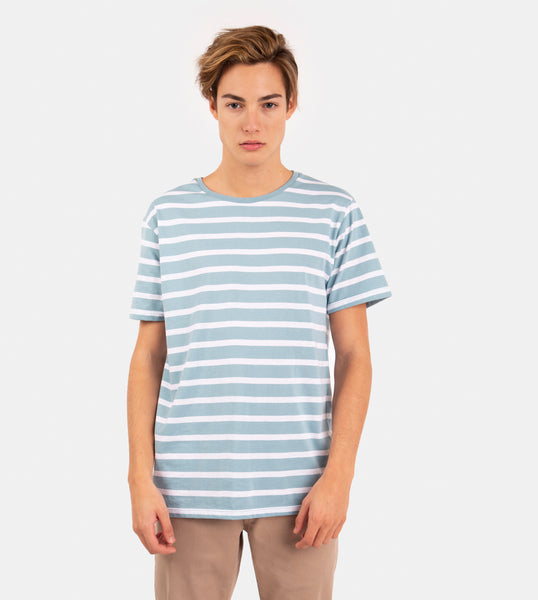 Essential Blend Striped Tee (Aqua Blue)