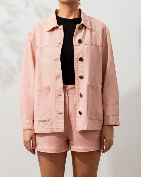 Everyday Cotton Twill Worker Jacket (Blush)